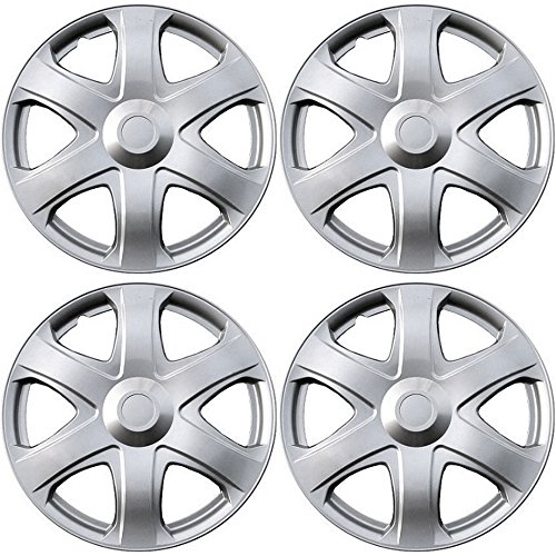 16 inch Hubcaps Best for 2009-2010 Toyota Matrix - (Set of 4) Wheel Covers 16in Hub Caps SIlver Rim Cover - Car Accessories for 16 inch Wheels - Snap On Hubcap, Auto Tire Replacement Exterior Cap