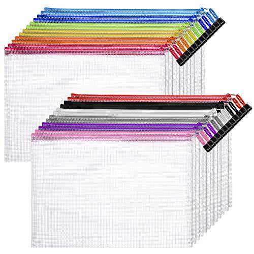 STOBOK - Bolsa de malla para documentos, impermeable, A4, con cremallera, para oficina, material escolar, 24 unidades