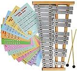 Glockenspiel 25 Note G-G Tuned Xilófono cromático – Instrumento educativo de percusión, partitura de tarjetas de música
