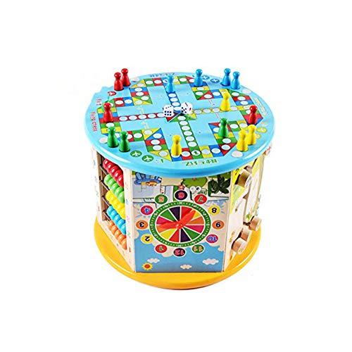 Acptxvh Juguetes educativos para niños multifuncionales rompecabezas grandes cuentas redondas, caja del tesoro, regalo teetraédrico multifunción de madera, color amarillo