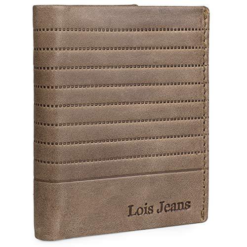 Lois - Echtleder-Herrenbrieftasche mit RFID-Schutz Karteninhaber und Dokumentationsmappe. Geschenkkarton Ausgezeichnete Qualität Casual Denim Fashion 202220, Color Camel