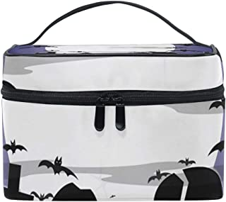 OREZI Halloween Cloudy Graveyard Travel Makeup Case Cosmetic Bag for Girl Women, Large Capacity and Adjustable Makeup Bags Travel Waterproof Toiletry Bag Accessories Organizer
