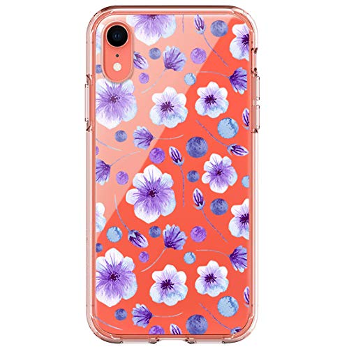 Funda compatible con iPhone XS Max funda ultrafina de gel de sílice, transparente, diseño de flores, protección antiarañazos 5 talla única