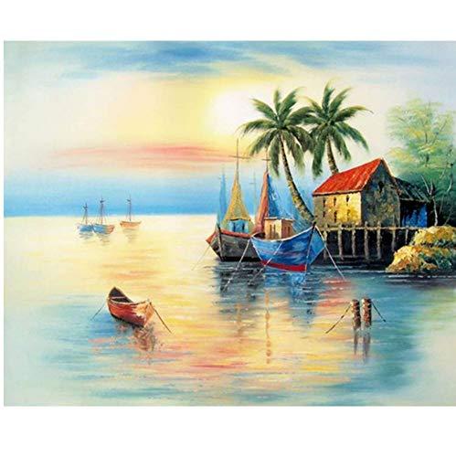 Volledige DIY Diamant Schilderij Kit Kokosnoot Boom Zeilboot Cross Stitch Diamant Borduurwerk Patronen Strass Steentjes Mozaïek Home Decor 1 Bestel 50x60