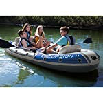 Intex Excursion Inflatable Boat Series 6 3 air chambers including an auxiliary air chamber in hull for extra buoyancy Boston valve on two main hull chambers for quick-fill & fast-deflate. All around grab line Inflatable I Beam floor for comfort and rigidity. Has 2 welded oar locks on each side