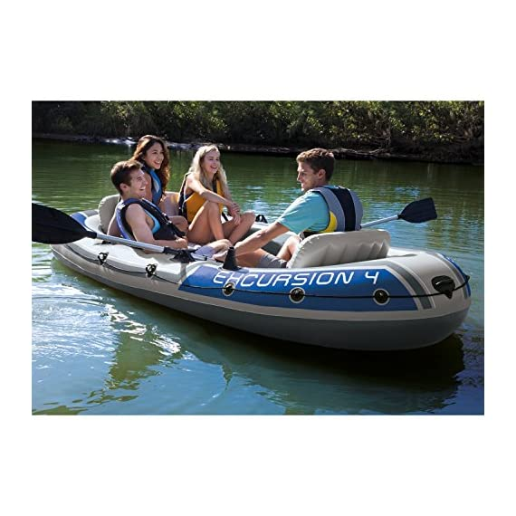 Intex Excursion Inflatable Boat Series 2 3 air chambers including an auxiliary air chamber in hull for extra buoyancy Boston valve on two main hull chambers for quick-fill & fast-deflate. All around grab line Inflatable I Beam floor for comfort and rigidity. Has 2 welded oar locks on each side
