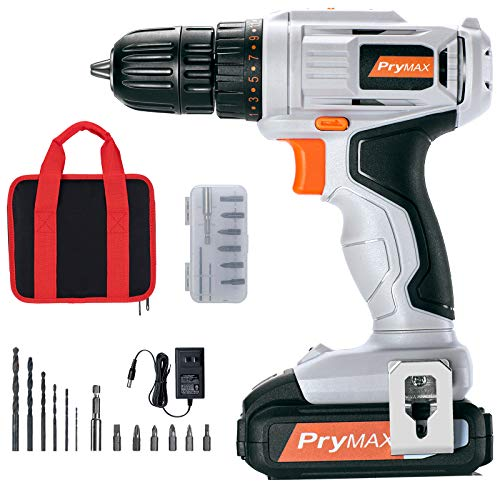 Prymax Cordless Drill Driver 20V Max 3/8 Inch Keyless Chuck Max Torque 265 Inlb 191 Position 15pcs Accessories 15Ah Battery and Charger Included Double Speed Drill Driver with LED Work Light