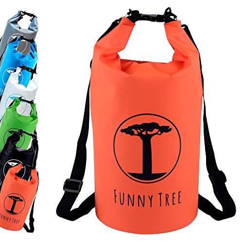 Funny Tree® Drybag. (20L Naranja) Impermeable (IPx6), DryBag Mejorado, Flotante. Incluye Funda de teléfono móvil Impermeable | Stand Up Paddle | Deportes acuáticos | Esquí | Snowboarding | Buceo