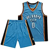 GDHA Oklahoma City Thunder Russell Westbrook 0 # Camiseta de baloncesto, hombres sin mangas de malla deportiva chaleco pantalones cortos, absorbe y secado rápido Azul-M