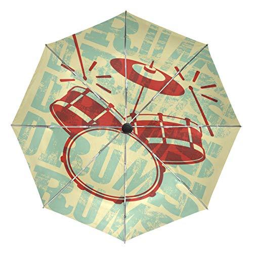 Wamika Schlagzeug Vintage Stil Automatischer Regenschirm Musik Gelb Winddicht Wasserdicht UV-Schutz Reise Regenschirm - 3 Falten Auto Öffnen/Schließen Knopf Sonne & Regen Auto Regenschirm