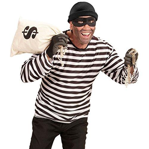 NET TOYS Conjunto de Disfraz Ladrón - M/L (ES 50/52) | con Camisa, Máscara y Gorro | Accesorios de Atracador | Conjunto de Traje Gánster