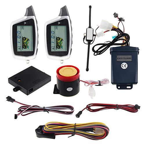 EASYGUARD EM212 2-Wege-Motorrad-Alarmanlage mit LCD-Pager-Display, wiederaufladbarer Sender eingebauter Schock-Sensor und Mikrowellensensor, DC12 V