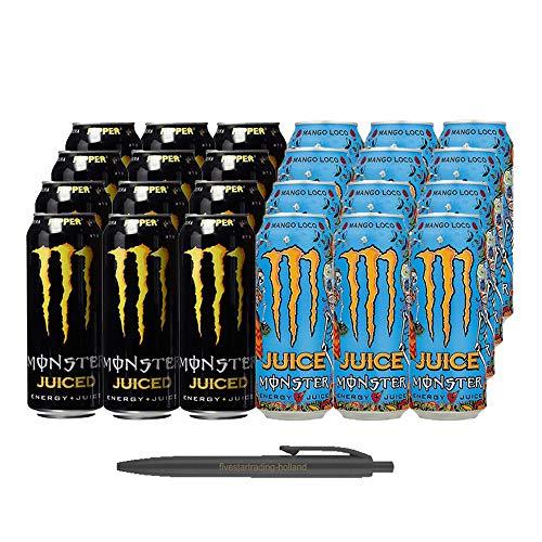 1x12 Monster Ripper Juiced und 1x12 Monster Mango Loco Juice (Insgesamt 24 Einweg-Dosen x 0,5 L) Inkl. Gratis FiveStar Kugelschreiber