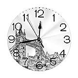 vnsukdlfg Round Wall Clocks Home Decorative,Vintage,Old Fashion London Tower Bridge Sketch Architecture British UK Scenery Art Print,Black White,Diameter 9.8'(25cm),Christmas Gifts