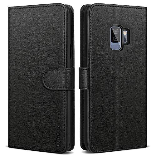 Vakoo Wallet Serie Handyhülle für Samsung Galaxy S9 Hülle, Schwarz