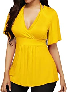 FSSE Womens Deep V-Neck Halter Solid Color Casual Plus Size T-Shirt Tunic Shirt Blouse Top