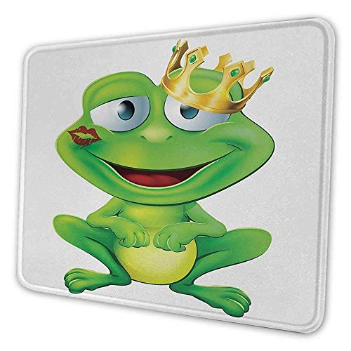 Animal Office Mouse Pad Frosch Prinz Cartoon-Figur mit goldener gelber Krone Lippenstift Mark auf den Lippen Love Mouse Pad für Männer Lustige Multicolor