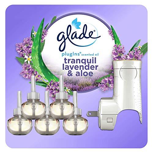 Glade PlugIns Refills Air Freshener Starter Kit, Scented and Essential Oils for Home and Bathroom, Lavender & Aloe, 3.35 Fl Oz, 1 Warmer + 5 Refills