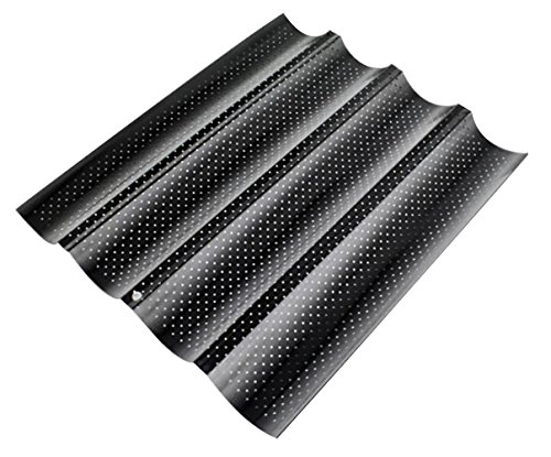 Four Groove French Bread Pan, KOOTIPS Non-stick Perforated Baguette Pan French Italian Bread Pan Wave Loaf Bake Mold Board Subway Mold Tins Basket Tray Cloche Molds Pans Sheet Baker Baking (Black)