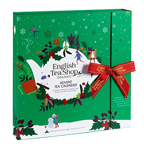 English Tea Shop Book Style Green Advent Calendar | 25 Pyramid Tea Bags | 50g