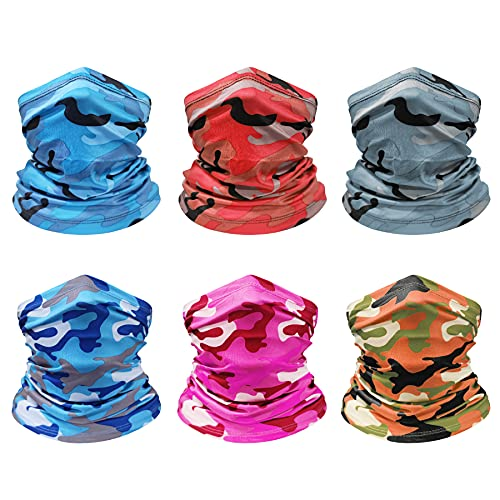 Howan Neck Gaiter Face Cover Scarf, 6 Pack Washable Reusable UV Protection Breathable Mask for Women & Men