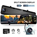 """WOLFBOX 12"""" Mirror Dash Cam, Dual Dash Cam with 1296P Front cam"""
