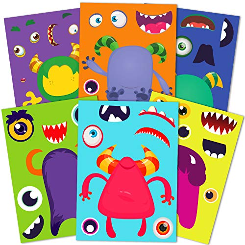 Funnlot Halloween Party Games for Kids,30PCS Halloween Stickers for Kids Make A Monster Stickers Halloween Activities for Toddlers Monster Themed Party Supplies Halloween Monster Stickers