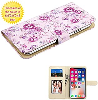 Case+Stylus, MYBAT PU Leather Purse/Clutch/Wallet with ID/Credit Card Slots. Fits Universal Samsung, Apple, LG, etc. Fresh Purple Rose Flower w Stuffed Diamond-Medium. Fits The Models Below: