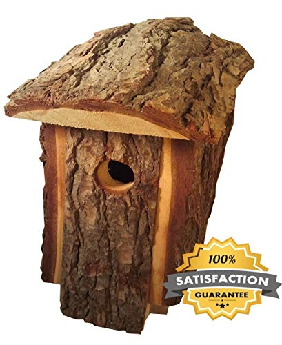 Best Wooden Birdhouse, Durable, Outside Decorative House for Birds Made By Amish Artists, Traditional Natural Looking Pine To Attract Birds, Very Unique Bird House, Handmade Wooden Design Bird Houses