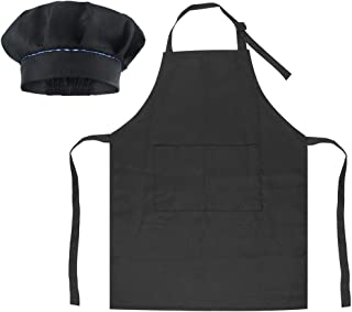 SUNLAND Kids Apron and Hat Set Children Chef Apron for Cooking Baking Painting, Black, Medium