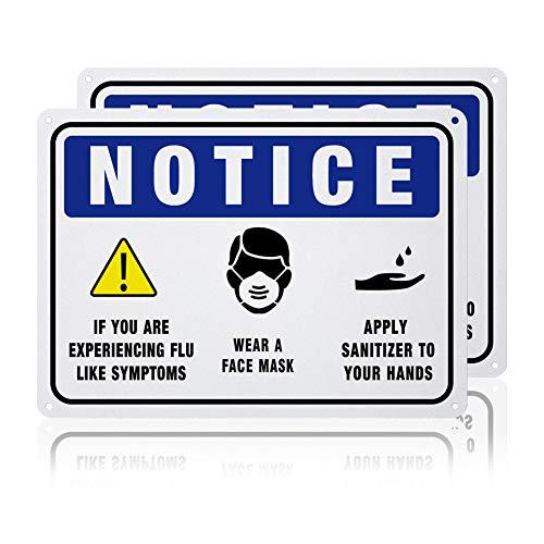 GLOBLELAND 2 Paquete Aviso de Prevención de la Gripe Señales de Advertencia, 7x10 Pulgada 40 mil de Aluminio Use Mascarilla Y Aplique Letreros de Aviso de Desinfectante