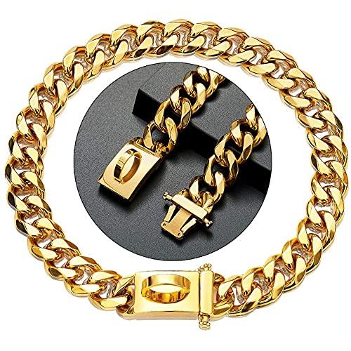 ZJING QWER Collare per cani in Oro 15 mm di larghezza Collare a Catena per cani Heavy Duty Cuban Link Dog Chain con Fibbia in Metallo,16in/41cm