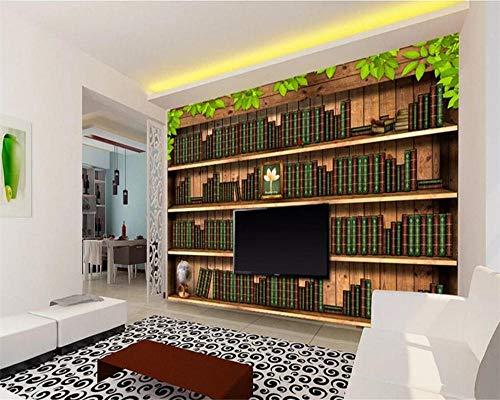 HDDNZH muurschildering Custom 3D grote muurschildering behang vintage boekenkast TV sofa achtergrond muur woonkamer slaapkamer huis decoratie 160cm(H)×250cm(W)