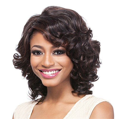 YX Short Curly Hair Wig for Black Women African american Heat Resistant Synthetic Hair Wigs(Brown)