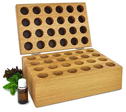 Aufbewahrungsbox Holz für ätherische Öle und Globuli, Eiche massiv geölt, für 24 Fläschchen lichtgeschützte Aufbewahrung für wertvolle Duftöle ätherisches Öl Organizer Geschenk (24er-Box)