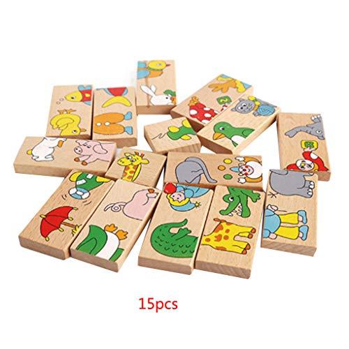 15 stks/set dier gekleurde domino houten speelgoed, cartoon dier puzzel, educatieve puzzel cartoon educatief baby speelgoed leuke verjaardagscadeautjes kids games speelgoed