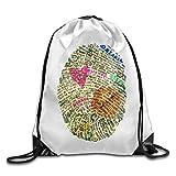 JHUIK Drawstring Bag Backpack,Mochila con cordón Gymbag portátil Mochila para IR de Compras Deporte Yoga Gato japonés Morado Mochila de Camping de Viaje