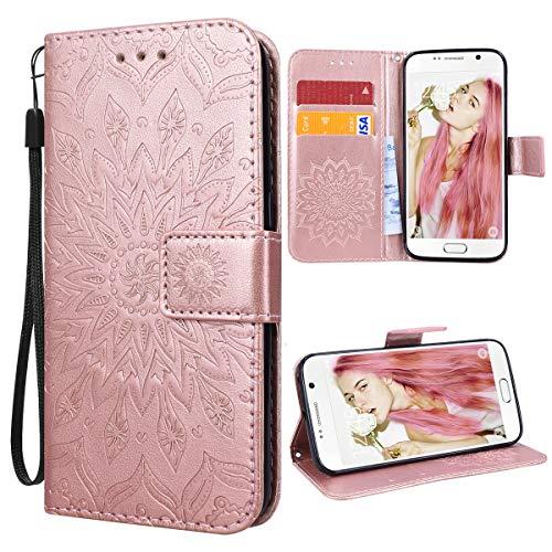 VemMore Kompatibel für Samsung Galaxy S6 Edge Hülle Handyhülle Schutzhülle Leder PU Wallet Flip Case Bumper Lederhülle Ledercase Blumen Muster Klapphülle Ultra Dünn Kartenfach Magnetisch - Rose Gold