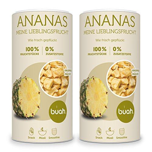 BUAH® Ananas gefriergetrocknet I getrocknete Ananas ohne Zucker I 100% gefriergetrocknet Früchte (Vegan Glutenfrei Laktosefrei) Getrocknete Früchte in DE hergestellt (336g)