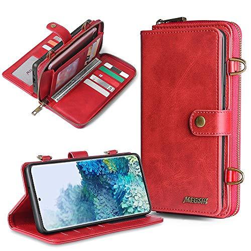 DingSORA Funda para teléfono de Cuero Billetera Desmontable para Samsung Galaxy M31 A21S A20E A50 A51 A71 S8 S8 S9 S10 S20 S21 Plus NOTA20 Ultra S20FE (Color : Rojo, Tamaño : S7 Edge)