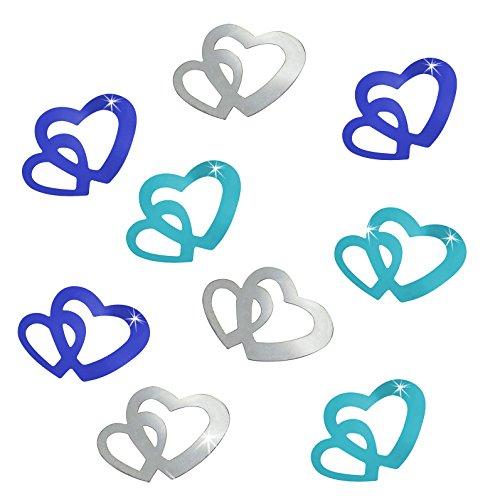 Oblique-Unique® 100 Stk Deko Doppel Herzen - Farbwahl (Farbmix (Blau, Türkis, Silber))