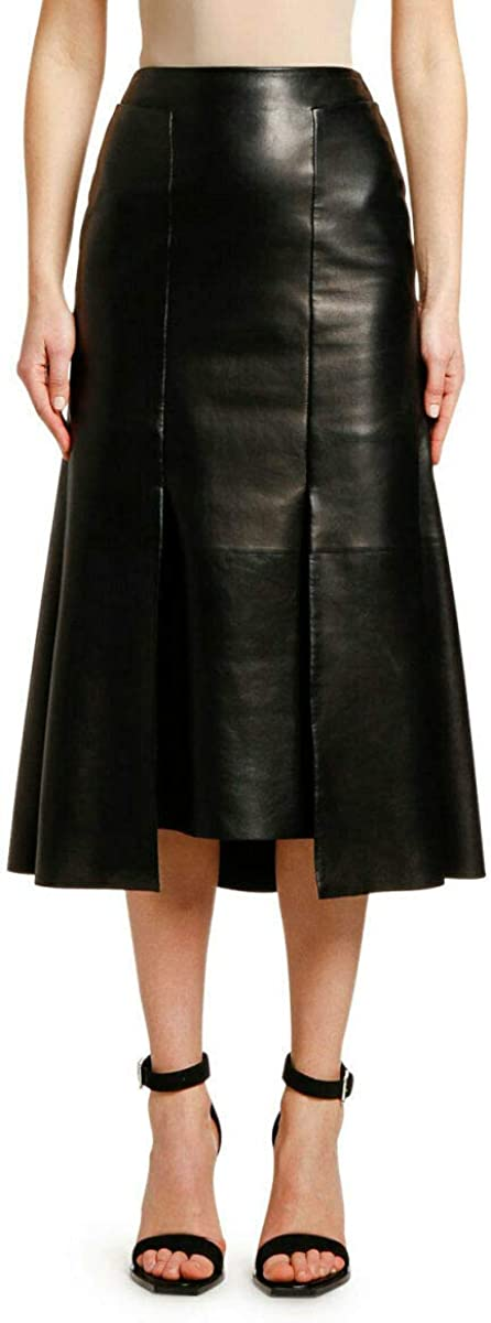 RedSeam Women's Leather Skirt Genuine Soft Lambskin Leather Below-Knee Skirt RK017