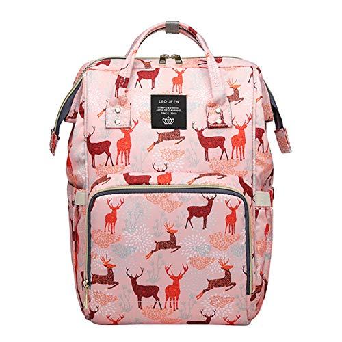 Tianhaik - Mochila de viaje grande, diseño de animales de dibujos animados, bolsa organizadora para mujer, multifunción, impermeable, multifunción, color rosa #2