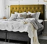 Cabeceros de Cama tapizados de Madera Polipiel Blanco Tejido Antimanchas Dormitorio cabecero Matrimonio Moderno Mod. Paris Todas Las Medidas y Colores (Mostaza, 105 * 70)
