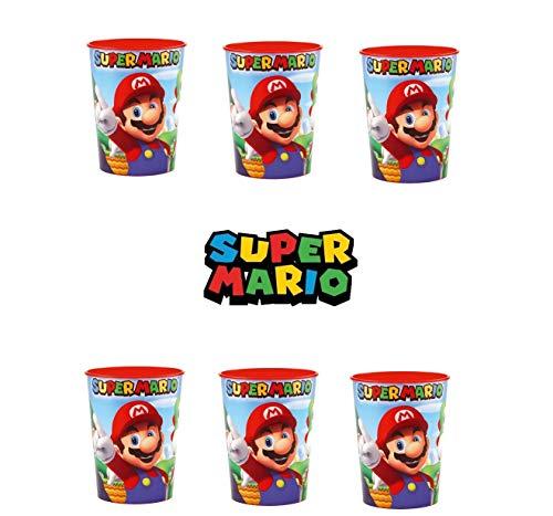 Juego de 6 vasos Super Mario extra grande, 473 ml, plásticos reutilizables,...