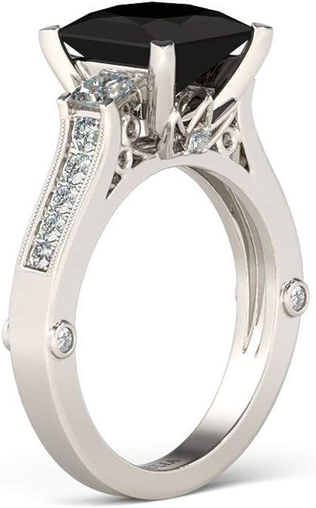 Jeulia Fixed price for sale 4 Carat Classic Princess Nashville-Davidson Mall Silver Ring Cut Fashion Sterling