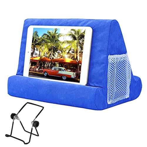 Soporte de almohada para tableta, cojín suave multiángulo para iPad, almohada para tableta o iPad, soporte de espuma para libros de cama, soporte de lectura para cama regazo, color azul