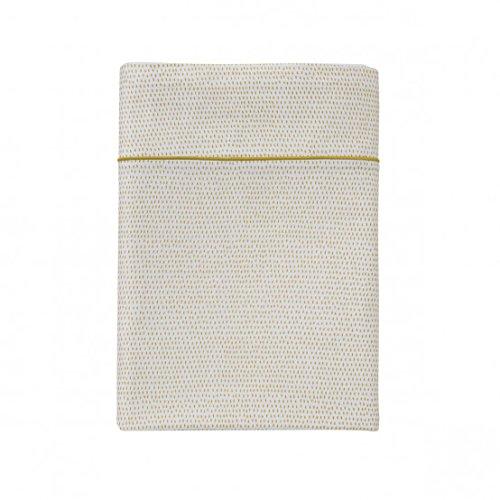 Essix Tama Song Drap Plat, Satin de coton, Indigo/Ocre, 180x290 cm