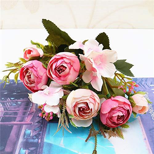 Wffo Flores Artificiales, 1 Ramo de Flores de Seda de peonía Artificial Vintage Ramo para decoración