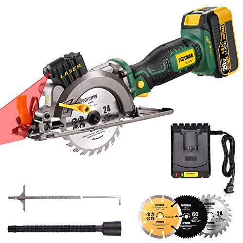 Cordless Circular Saw, POPOMAN 20V 4-1/2' 4500RPM Compact Circular Saw with Laser, 4.0AH Lithium-Lon Battery, 3 Saw Blades, Ideal for Wood, Soft Metal, Tile, Plastic Cuts - MTW510B